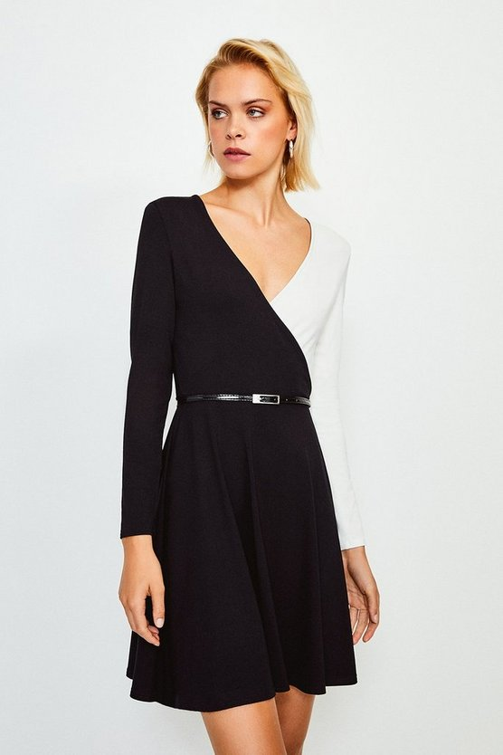 Mono Colour Block Wrap Belted Jersey Dress