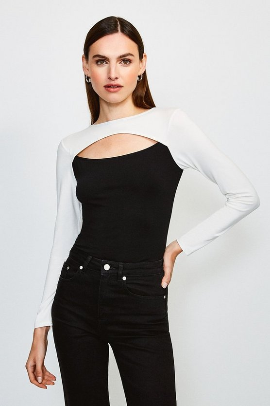 Mono Viscose Jersey Colour Block Peep Hole Top