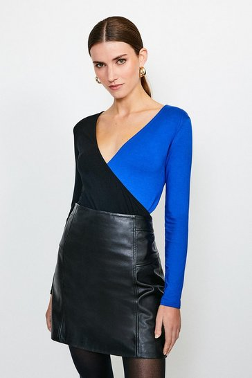 Cobalt Long Sleeve Colour Block Jersey Wrap Top