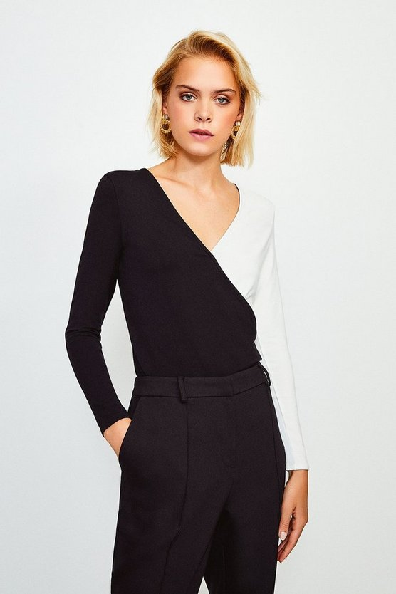 Mono Viscose Jersey Colour Block Wrap Top