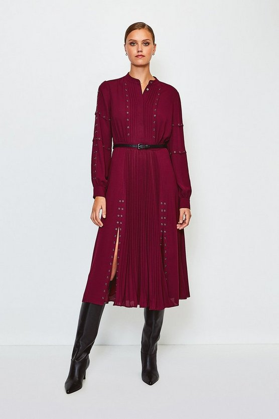 Fig Pintuck And Eyelet Detail Dress