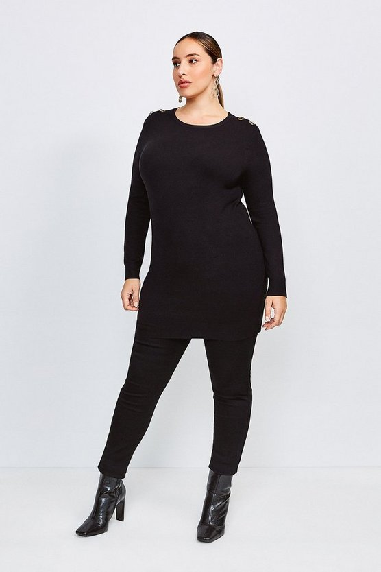 Black Curve Trim Detail Knitted Tunic