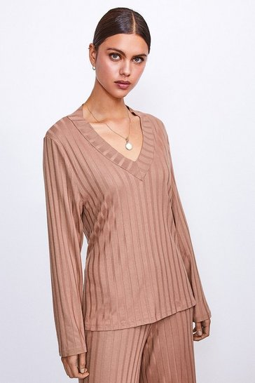 Camel Ribbed Jersey Lounge V Neck Long Sleeve Top