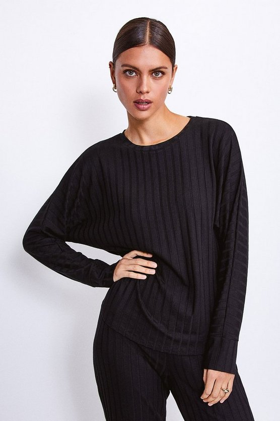 Berry Ribbed Jersey Lounge Round Neck Long Sleeve Top
