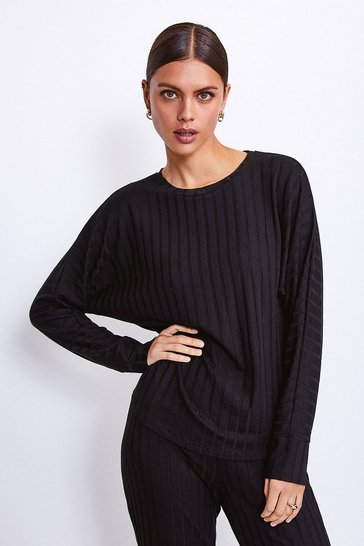 Black Ribbed Jersey Lounge Round Neck Long Sleeve Top