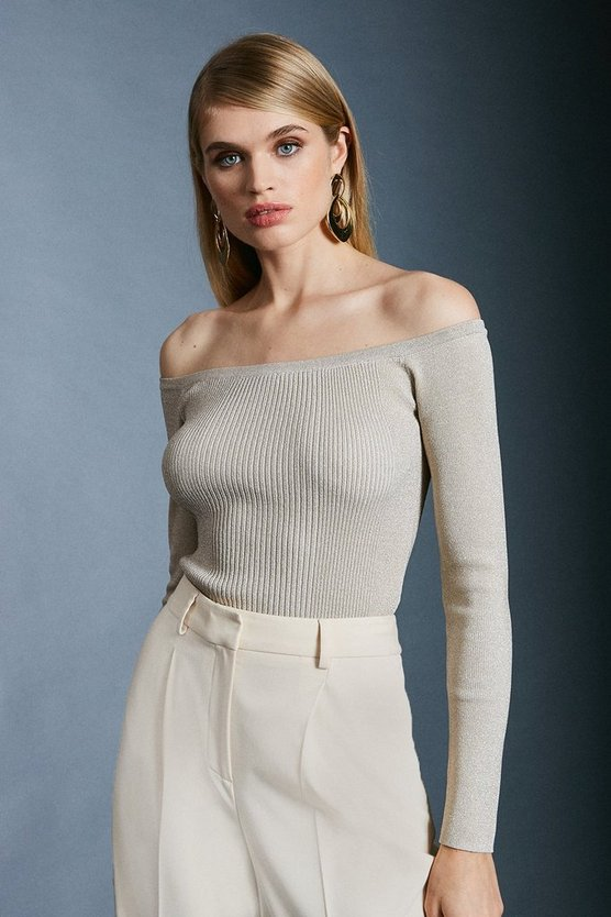 Ivory Sparkle Knit Rib Long Sleeve Bardot Top