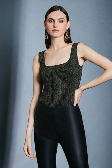Black Sparkle Knit Rib Square Neck Vest Top