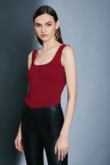 Red Sparkle Knit Rib Square Neck Vest Top