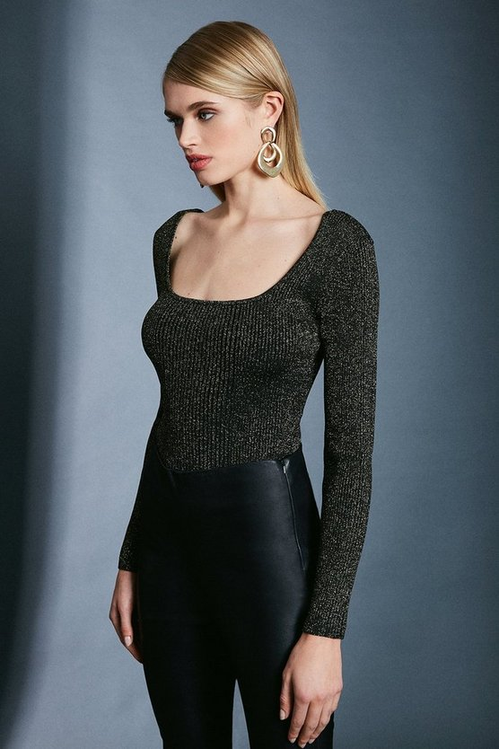 Black Sparkle Knit Rib Long Sleeve  Square Neck Top