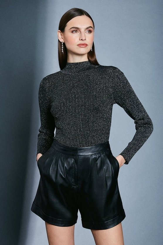 Black Sparkle Knit Rib Long Sleeve Funnel Neck Top