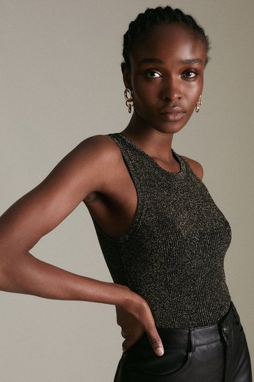 Black Sparkle Knit Rib Crew Neck Vest Top