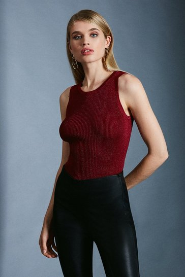 Red Sparkle Knit Rib Crew Neck Vest Top