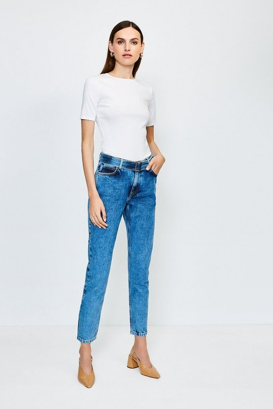 Mid wash Buckle Belt High Waisted Jean