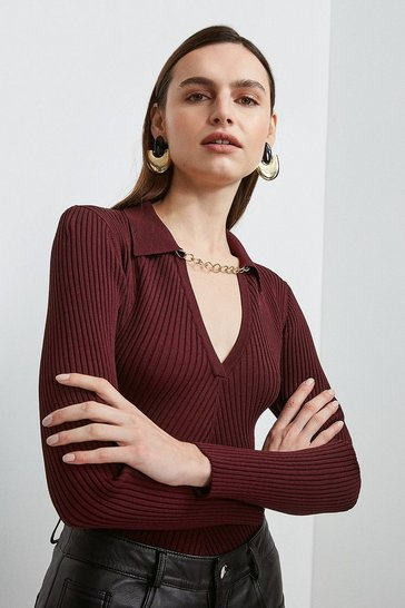 Fig Long Sleeve Knitted Rib Chain Collared Top