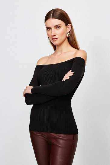 Black Long Sleeve Knitted Rib Bardot Top