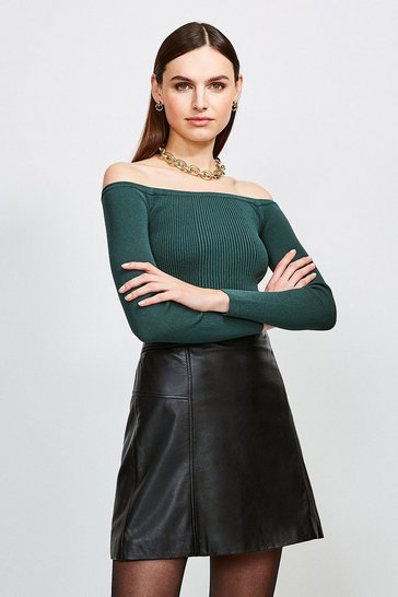 Dark green Long Sleeve Knitted Rib Bardot Top
