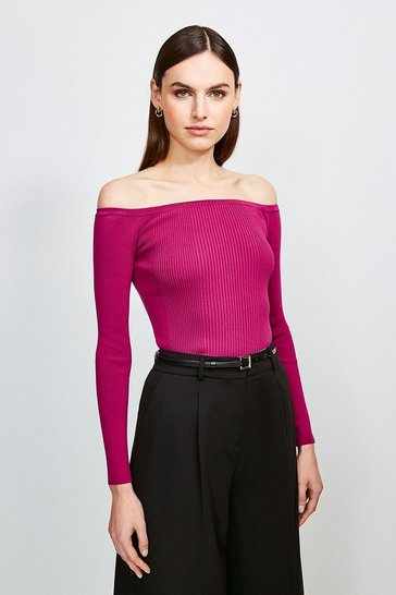 Fuchsia Long Sleeve Knitted Rib Bardot Top