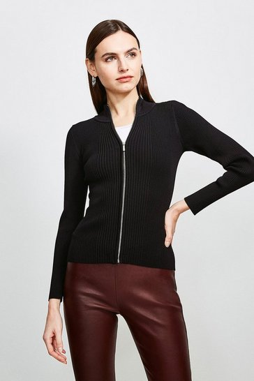 Black Funnel Neck Knitted Rib Zip Through Cardigan