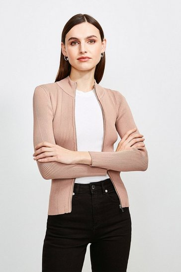 Mink Funnel Neck Knitted Rib Zip Through Cardigan