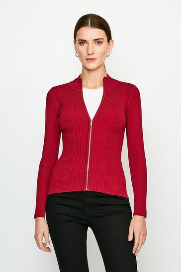 Red Funnel Neck Knitted Rib Zip Through Cardigan