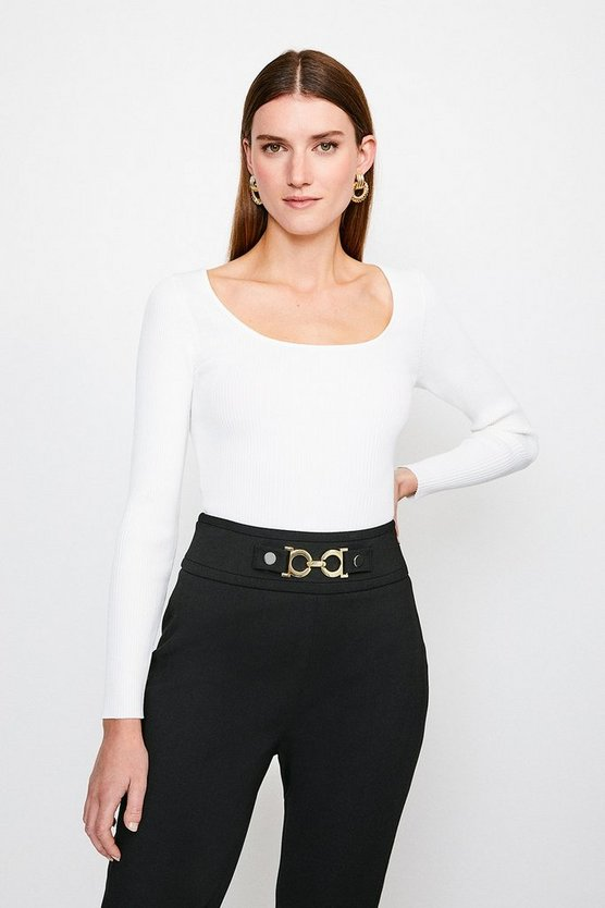 Ivory Long Sleeve Knitted Rib Square Neck Top