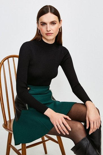 Black Knit Rib Long Sleeve Funnel Neck Top