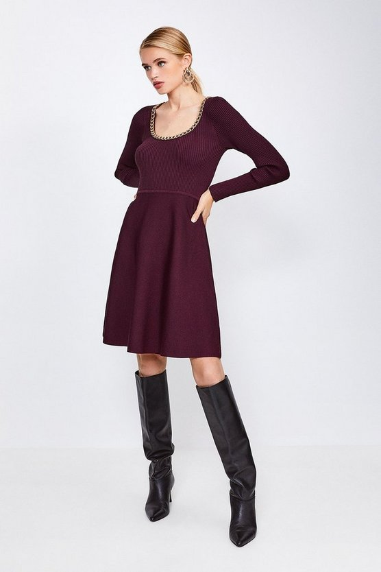 Fig Chain Scoop Neck Knitted Skater Dress