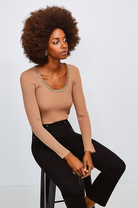 Camel Chain Scoop Neck Knitted Top