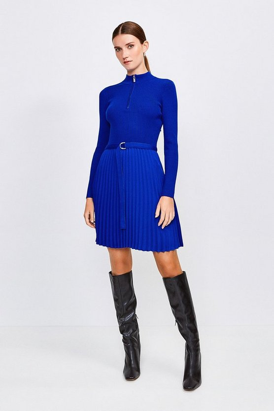 Cobalt Pleated Short Skirt Knitted Dress