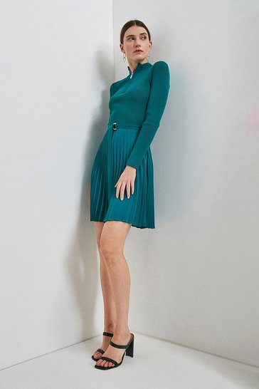 Teal Pleated Short Skirt Knitted Dress