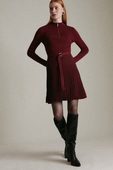 Wine Pleated Short Skirt Knitted Dress