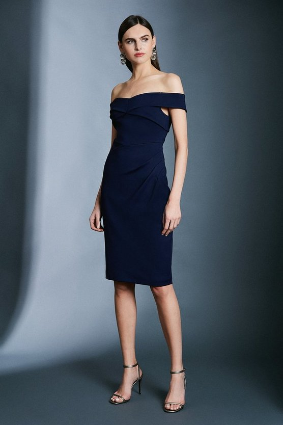 Navy Italian Jersey Cross Strap Tucked Pencil Dress