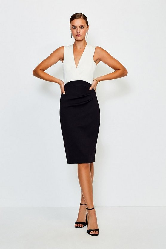 Mono Italian Jersey Plunge Neck Pencil Dress