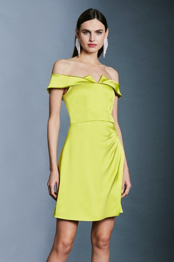 Lime Italian Satin Origami Bardot Short Dress