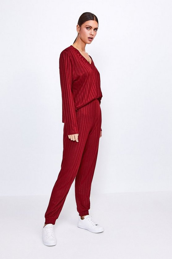 Berry Ribbed Jersey Lounge Jogger