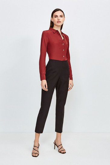 Pink High Waisted Tapered Trousers