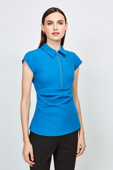 Peacock Zip Collar Top