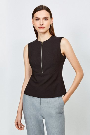 Black Zip Front Sharp Seam Top