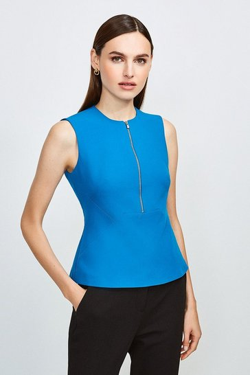 Peacock Zip Front Sharp Seam Top