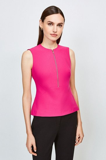 Pink Zip Front Sharp Seam Top