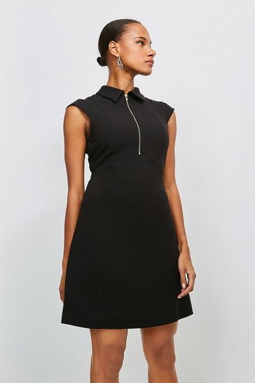 Black Zip Collar A Line Dress