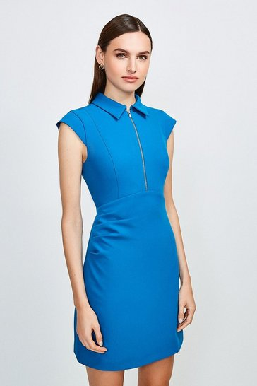 Peacock Zip Collar A Line Dress