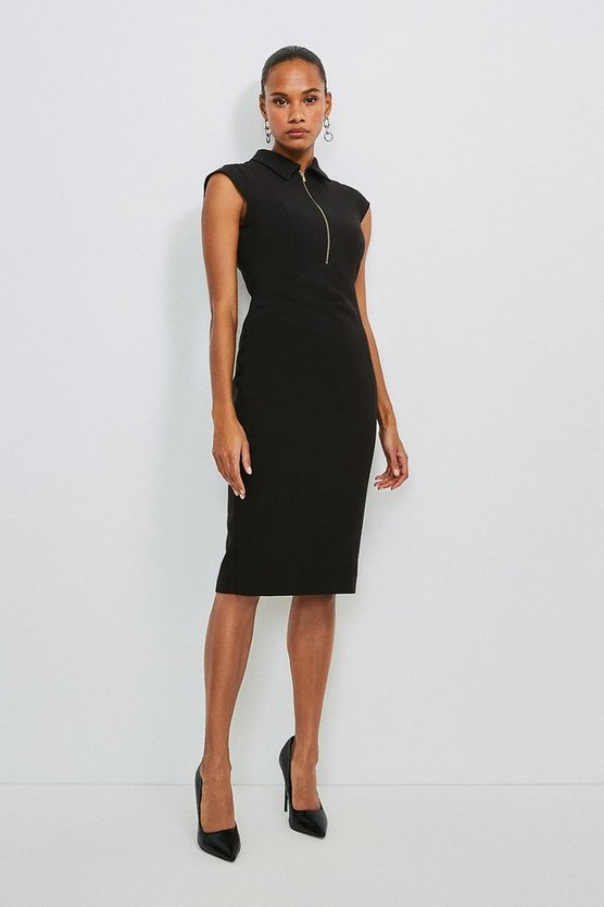 Black Zip Collar Pencil Dress