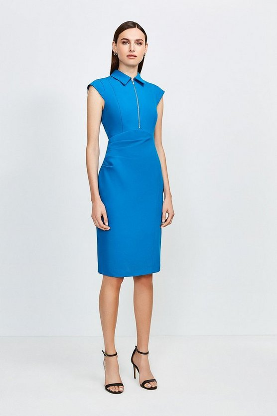 Peacock Zip Collar Pencil Dress