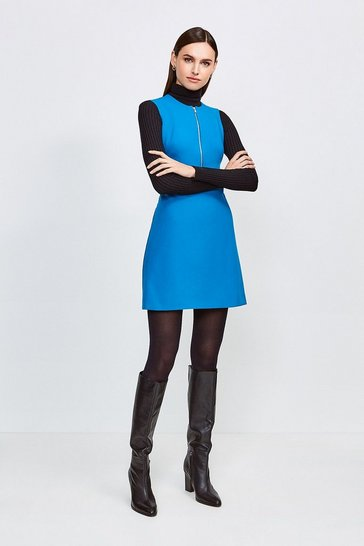 Peacock Zip Front Sharp Seam A Line Dress
