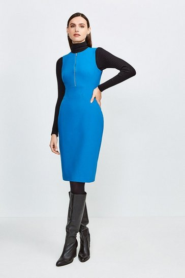 Peacock Zip Front Sharp Seam Pencil Dress