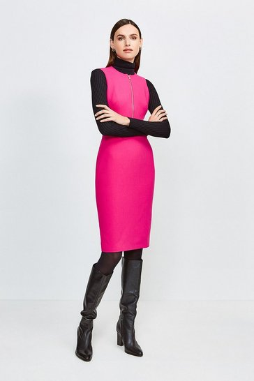 Pink Zip Front Sharp Seam Pencil Dress