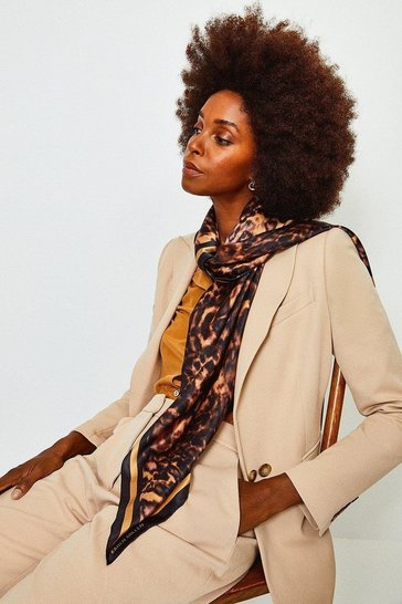 Brown Silk Leopard Scarf
