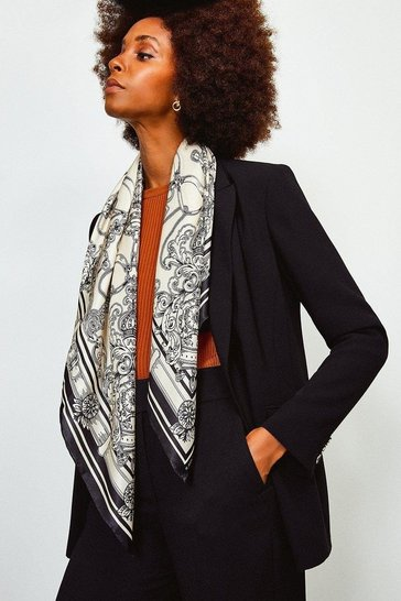 Black Silk Placement Print Scarf