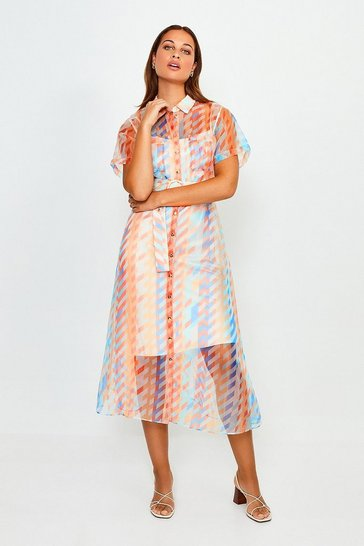 Blue Geo Print Organza Shirt Dress